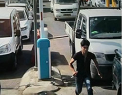 A Palestinian terrorist holding a knife runs towards the Gilboa crossing (leading from Samaria to Israel). He was shot by the crossing's security personnel  (Facebook page of Red Alert, October 24, 2015).