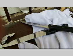 Two large kitchen knives found in the bag of one of the girls