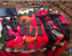 Weapons found during the detention of two Palestinian terrorist operatives in the Jenin refugee camp (Israel Security Agency website, date, October 27).
