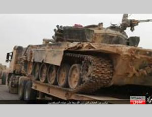 Syrian Army tank seized by ISIS in the Hama province.