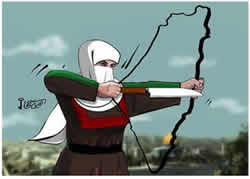 A cartoon by Hamas-affiliated Omaya Joha (Facebook page of PALDF, November 8, 2015).