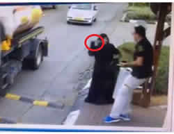 From the security camera footage at the entrance to Beitar Ilit. It shows Hilwa Alian taking the knife out of her bag and stabbing the security guard.