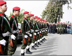 The formal military funeral held for the terrorist by the PA. His body is carried on the shoulders of PA national security forces' operatives (Wafa News Agency, November 5, 2015).