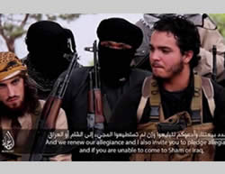 A scene from an ISIS video showing a French-speaking terrorist operative calling for more attacks in France (Al-Jazeera, November 13, 2015).