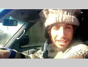From a video posted to Twitter showing Abdelhamid Abaaoud smiling and driving a pickup truck dragging ISIS victims.