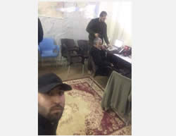 Qasem Soleimani in the operations room south of Aleppo. Standing next to him is Harakat Hezbollah al-Nujaba commander Akram Abbas al-Ka'bi (Twitter, November 14, 2015)