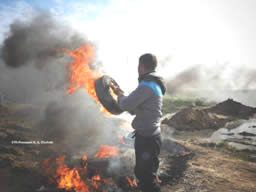 Palestinians throw stones and burn tires near the border security fence west of the community of Nahal Oz (Facebook page of Quds.net, November 20, 2015).