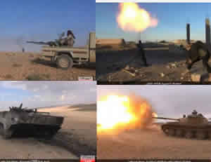 Top right: ISIS operative launching a mortar shell at the Syrian Army forces near the town of Mheen. Top left: ISIS operative firing a heavy machine gun mounted on an SUV at the Syrian Army forces near the town of Mheen. Bottom right: ISIS tank shelling the Syrian Army forces near the town of Mheen. Bottom left: Syrian Army BMP APC that was hit by gunfire by ISIS near the town of Mheen (muslims-news.net, November 19, 2015).