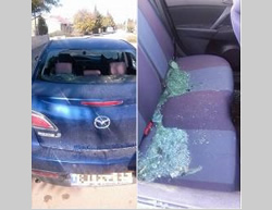 The Israeli vehicle attacked near the village of Tekoa  (Photo from Gush Etzion Security, November 28, 2015).
