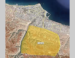 The Al-Fataeh region (marked in yellow), south of the city of Derna, where ISIS operatives are concentrated (Wikimapia)