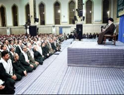 Ali Khamenei gives a speech before the Basij commanders.