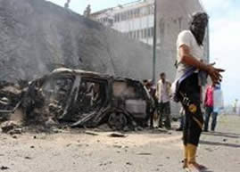 Wreckage of the car bomb activated against the governor of Aden