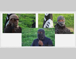 Armed and masked ISIS operatives making statements against the Saudi royal family. Left: ISIS operative Abu Fatima al-Jazrawi. Right: ISIS operative Abu Osama al-Muhajer. Bottom: ISIS operative Abu Jaafar al-Ansari (archive.org file-sharing website, December 18, 2015)