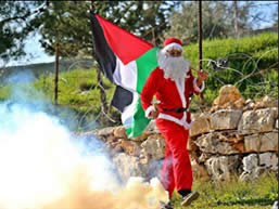 The Christmas spirit at a riot in Bil'in (Facebook page of Bil'in, December 25, 2015).