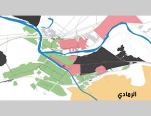 Map of the control of Ramadi, updated to December 28, 2015: 55% of the city has been cleared of ISIS operatives (green), about 20% is still controlled by ISIS (black), and about 25% has been designated as confrontation zones (pink) (Al-Sumaria TV, December 28, 2015).
