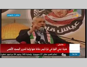 Ismail Haniya speaks at a Hamas rally in Khan Yunis (Facebook page of PALDF, January 8, 2016).
