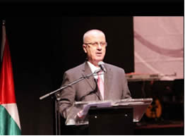 Rami Hamdallah, prime minister of the Palestinian national consensus government, gives a speech in Ramallah on the occasion of Palestinian