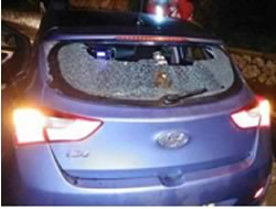 The Israeli vehicle damaged in the attack (Facebook page of Paldf, January 25, 2016).
