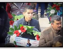 Ahmed Wajia Othman Jadallah at the funeral held for Palestinian terrorist Ibrahim Allan, from his village (Facebook page of Paldf, January 31, 2016).