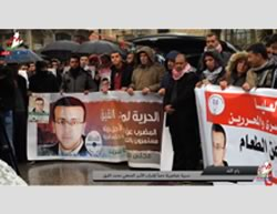 Rallies held in support of the release of Muhammad al-Qiq. Left: Rally and march in Ramallah (YouTube, February 7, 2016).Right: Rally in Nablus (Facebook page of Paldf, February 8, 2016).