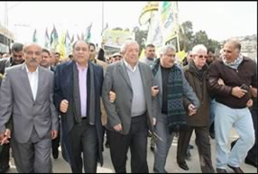 Senior Fatah figures in Judea and Samaria, among them Mahmoud al-'Alul (center), visit the town of Qabatiya and the families of the three terrorists who carried out the shooting and stabbing attack at the Nablus Gate in Jerusalem