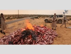Burning cigarettes in the Sinai Peninsula (ISIS-affiliated Twitter account, February 7, 2016)