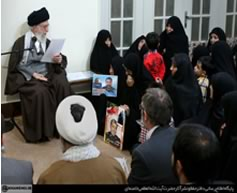 Khamenei at a meeting with the families of Iranians killed fighting in Syria and Iraq (Website of Supreme Leader Ali Khamenei, February 6, 2016).