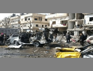 The damage caused by ISIS's double bombing attack in Homs (SANA Syrian News Agency, February 21, 2016).