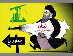 Cartoon attacking Nasrallah, who wages war in Syria and sacrifices Lebanon by violating its traditional neutrality (Twitter account of Turqi al-Dasouri , February 22, 2016).