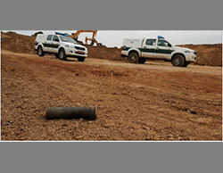 The remains of one of the rockets (Spokesman for a western Negev local council, March 12, 2016).