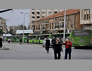 A convoy of buses for taking the residents of Palmyra and Al-Qaryatayn to their homes.