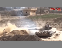 Images from a video released by the Syrian Army, documenting the battles between the Syrian Army and ISIS operatives in Deir al-Zor.