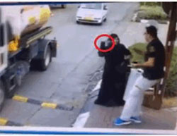 A stabbing attack, the most frequent type of attack carried out in the popular terrorist campaign: a scene from a security camera video taken at the entrance to the town of Beitar Illit.