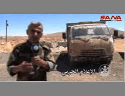 The truck seized by the Syrian Army