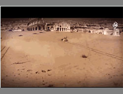 From the video: The Colosseum in Rome seen from the edge of the North African desert  (Akhbar Dawlat al-Islam, April 30, 2016)
