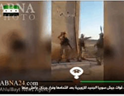 Photos from a video distributed by the forces of the so-called New Syrian Army.