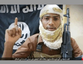 The suicide bomber who carried out an attack against the Yemeni Army in the city of Al-Mukalla (ISIS-affiliated Twitter account, May 15, 2016).