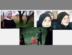 """Right: The two boys at an ISIS school. Left: Abu Mus'ab says that """"Since we migrated to the land of the Caliphate, we never even considered returning to France. Allah willing we will return as conquerors, spreading the religion of Islam."""" On the left: The boys executing two people accused of collaborating with the Syrian regime (Haqq, May 15, 2016)."""