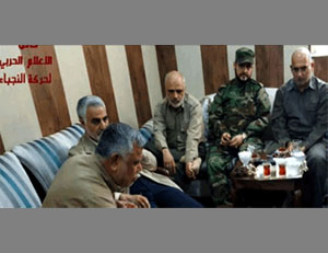 Qassem Soleimani alongside senior officers of the Shiite militias that support the Iraqi Army (Al-Jazeera, May 24, 2016) Note: According to Iraqi sources, the photo was taken in the operations room of the Shiite militias supporting the Iraqi Army in the operation over Fallujah.
