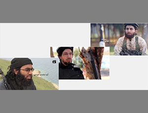 The Indian operatives in the video. Right: Abu Turab the Indian. Center: Omar Farouq the Indian. Left: Abu Salman the Indian (Khilafah Mubasher, May 20, 2016)