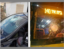 Left: An Israeli vehicle damaged when Palestinians threw stones at it near the Gush Etzion junction (Twitter account of Palinfo, May 29, 2016). Right: The Israeli bus damaged by stones thrown by Palestinians near the village of Hizma (Facebook page of Paldf, May 24, 2016).