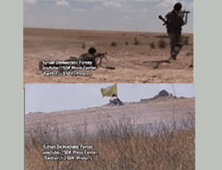 Images from a video produced by the SDF documenting clashes with ISIS operatives in the rural area north of Al-Raqqah. The voice of a man speaking Kurdish can be heard on the video. He is speaking on a two-way radio adjacent to the photographer (SDF Facebook page, May 29, 2016).