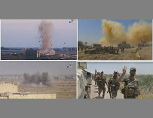 Right: The Iraqi Army on the outskirts of Fallujah (Al-Jazeera, May 29, 2016). Left: Mortar shells fired by ISIS at an Iraqi Army base south of Fallujah (Aamaq, May 29, 2016)