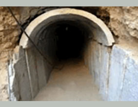 The entrance to a long tunnel uncovered by the Iraqi Army northeast of Fallujah.