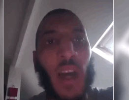 Larossi Abballa in the video, pledging allegiance to ISIS leader Abu Bakr al-Baghdadi. He apparently photographed himself on his cellphone (Aamaq, June 14, 2016).