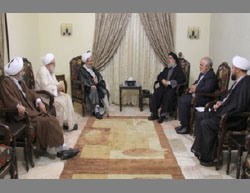 Clerics from Qom meet with Hassan Nasrallah (third from right) (Mehr, June 8, 2016).
