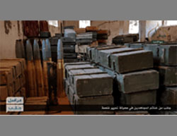 Tank shells and crates of ammunition that fell into the hands of Jaysh al-Fatah in the battle over Khalasah (Twitter, June 18, 2016)