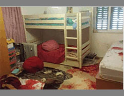 The room in Kiryat Arba where the girl was stabbed to death in her sleep (Ma'an, June 30, 2016).