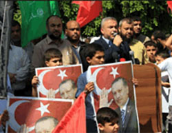 Demonstration in the Gaza Strip after the failed military coup in Turkey (Twitter account of Palinfo, July 17, 2016).