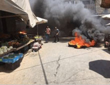 Tires burning in the market in Nablus (Facebook page of Quds.net, and Facebook page of Hamas – Jenin, July 20, 2016).